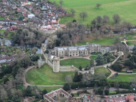 View of warwick castle during trial flying lesson